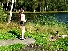 4 movies - Hot young ravenhead pissing at the shore of a lake