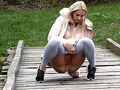 0  - Public pissing for sexy blonde babe Katy Sky